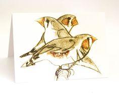 Three Finches Greeting Card Bird Art Card by BridgetFarmerArtist
