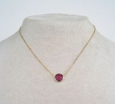 Vintage 1979 Traditional Minimalist Avon Burgundy Wine Size LARGE Goldtone Cable Chain Amethyst Purple Stone Necklace by ThePaisleyUnicorn, $10.00