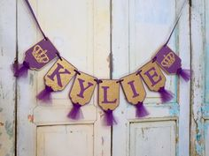 Girls Name Banner with Crowns, Embossed Purple and Gold Banner with Tulle Princess Birthday Decoration Royal Baby Shower Girl Nursery Banner by PaperEtcStudio on Etsy