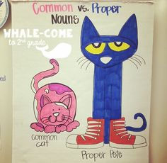 Common vs. Proper Nouns with Pete the Cat. Write words on sticky notes and sort whole group. Great interactive anchor chart and whole group activity. #whalecometo2ndgrade #grammar #nouns #petethecat