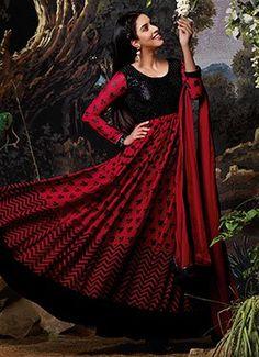 Asin Red N Black Anarkali Suit
