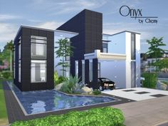 The Sims Resource: Onyx Modern house by Chemy • Sims 4 Downloads