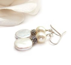Classic Pearl Earrings White Coin Pearls by RockStoneTreasures,
