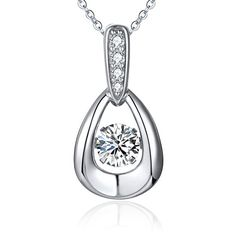 YL Dancing Diamond Sterling Silver 6mm Cubic Zirconia Teardrop Pendant Necklace 18 >>> Want to know more, click on the image.-It is an affiliate link to Amazon. #Pendant