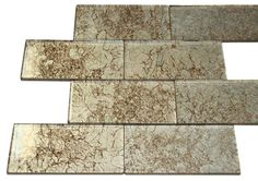"""3x6 Glossy Light Brown Deco Subway Glass Mosaic Tiles (JH10)  Sheet Size: 8 Tiles Tile Size: 2 7/8"""" x 5 3/4"""" Type: Glass Finished: Glossy"""