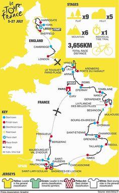 Tour de France map...  Please follow us @ http://www.pinterest.com/wocycling