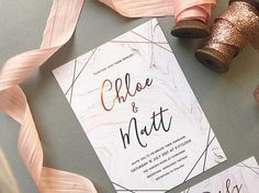 Rose Gold Marble Wedding Invitation Blush Pink & Grey