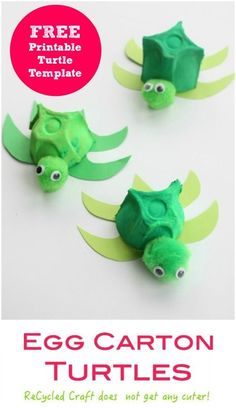 Egg Carton Turtle such-a-cute-recycled-craft-activity-for-kids.-Easy-to-make-and-perfect-with-any-Sea-or-under-the-sea-theme