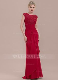 [US$ 120.49] Sheath/Column Scoop Neck Floor-Length Chiffon Lace Bridesmaid Dress With Cascading Ruffles