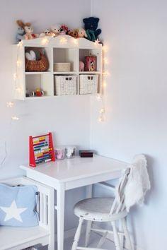 workspace / desk area for kids//love my star// Kids Desk Space, Kids Workspace, Kid Desk, Shelf Inspiration, Desk Layout, Ideas Para Organizar, Kids Room Organization, Shelves In Bedroom, Kids Decor
