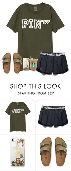 """when u just lay in bed and catch up on youtube"" by ctrygrl1999 ❤ liked on Polyvore featuring Under Armour, Kate Spade and Birkenstock"
