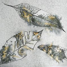 Encaustic Painting, Painting & Drawing, Guache, A Level Art, Painted Leaves, Art Journal Inspiration, Leaf Drawing, Art Journal Pages, Gravure