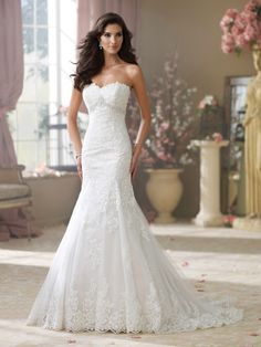 David Tutera for Mon Cheri - 214217 – Wilma - Wedding Dresses 2014 Collection – Strapless corded lace appliqué and tulle over luxurious satin slim A-line wedding dress, front and back softly curved necklines, corded lace appliquéd bodice features hand-beaded accents and a jewel