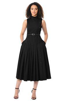 Cotton poplin side button dress #eShakti