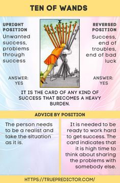 The Ten of Wands card means burdens and responsibility in love and money. The Tarot spread meaning helps to understand the future. Reversed and Upright.
