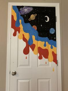 Painted Bedroom Doors, Wall Murals Bedroom, Door Murals, Painted Doors, Diy Bedroom, Trippy Painting, Mirror Painting, Diy Painting, Mural Painting
