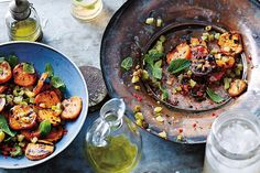 BBQ tangy sweet potato salad, a recipe from King of the Grill by Ross Dobson