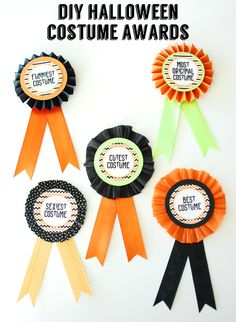 DIY Halloween Costume Awards with free printable circles - made from things you already have - ribbon, washi tape, crepe paper, cardstock.