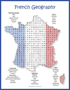 French Geography Word Search Puzzle: A fun way for students to learn French geography, this word search will have them hunting for a while. The words are hidden in all directions and some overlap, making this a challenging word search. Five categories of geographical features are included: Mountain Ranges, Rivers, Landmarks, Neighbors, and Cities.