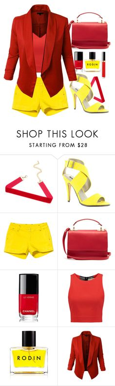 """""""Red&Yellow"""" by my-style-xo ❤ liked on Polyvore featuring Michael Antonio, Kavu, Sophie Hulme, Chanel, Alice + Olivia, Rodin and LE3NO"""