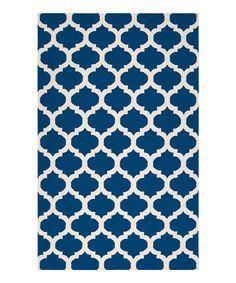 Look at this #zulilyfind! Royal Blue & Ivory Frontier Wool Rug by Surya #zulilyfinds