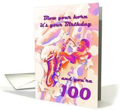 Happy 100th Birthday with Saxophone Player card