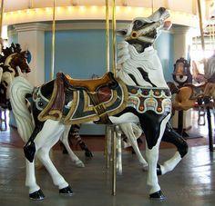 New pinto stargazer horse on Eldridge Park Carousel; photo by Jean Bennett