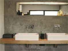 Concrete wall in bathroom