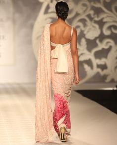 Embroidered Blush Peach Sari - Off The Runway