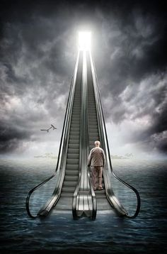 A piece of fine art art photography titled Knocking On Heaven´s Door by Ralf Mack Stairway To Heaven, Fantasy Kunst, Fantasy Art, Photomontage, Creative Photography, Art Photography, Surrealism Photography, Surreal Art, Photo Manipulation