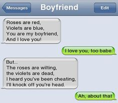 Funny Text Jokes to Send to Friends 2 49 Lol Cheating Boyfriend Poems Avoid Cheating Very Funny Texts, Funny Texts Jokes, Text Jokes, Funny Text Fails, Cute Texts, Funny Text Messages, Really Funny Memes, Haha Funny, Epic Texts