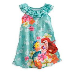 Disney Size 4 The Little Mermaid Ariel and Flounder Girl's Nightgown, Nightshirt Baby Kids Clothes, Toddler Girl Outfits, Toddler Dress, Outfits For Teens, Cute Outfits, Disney Nightgowns, Princess Party Costume, Disney Girls, Ariel Disney