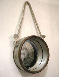 Miroir rond en m tal noir avec corde de suspension athezza - Miroir rond avec corde ...