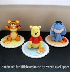 Reserved for Ms. Mirfie - Winnie The Pooh Inspired Cake/Cupcake Topper - Fondant Cake Topper - 1 Set via Etsy