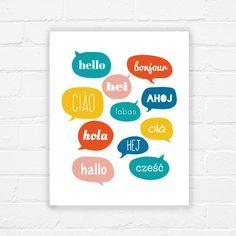 Speech bubble typography printable  hello by WhereisAlex on Etsy, $5.00
