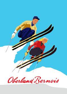 Vintage ski poster: Oberland Bernois