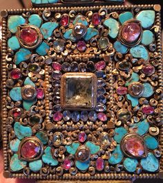 Tibetan gau box, gilt silver, gem stones. Private collection