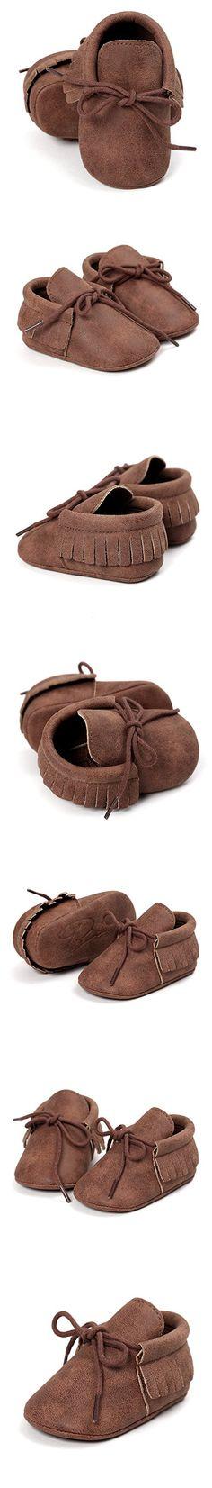 RVROVIC Baby Boys Girls Moccasins Soft Sole Tassels Prewalker Anti-Slip Shoes (L:12~18 months, PU Dark Brown)