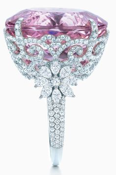 Tiffany and Co kunzite and diamond ring, Tiffany  Co., Tiffany and Company, Tiffany's, pink, diamonds, flowers, floral, kunzite, morganite, pink diamond, engagement ring, cocktail ring, princess