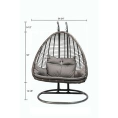 Baner Garden outdoor furniture presents resort-style hanging swings featuring premium PE rattan wicker. A powder-coated steel anchor, base and frame are included for secure freestanding suspension. The stainless steel chain is adjustable to the user's seat height preference. For an alternate option, the pod may also be installed into a reinforced roof or ceiling. The plush seat cushion provides the finishing touch for additional comfort and flair. Add a fun and comfort to your yard with t...