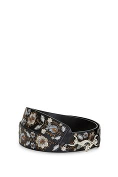 Metallic Embroidery Floral Guitar Strap - Clip this leather guitar strap on your RM bag and feel those folk music vibes. Signature dog clip hardware and rich, vivid embroidery mashup for a modern-meets-throwback look. So into it.    Style #:SF16EGSM17
