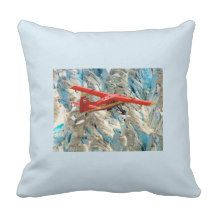 Bright red airplane flying across the Alaskan glaciers.  Fun pillow for pilots and flying enthusiasts.