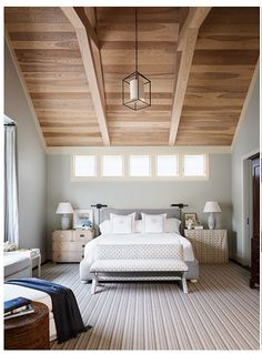Wooden high ceiling for bedroom decoration with stylish modern bed design and cool bedside table Neutral Bedroom Designs Mismatched Nightstands, Beautiful Bedrooms, Interior, Home, Home Bedroom, Neutral Bedroom Design, Bedroom Paint, Master Bedroom Paint, Interior Design