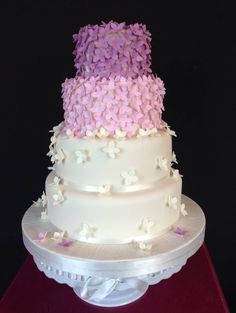 This pretty wedding cake decorated with sugar craft hydrangea petals was delivered to Slieve Donard hotel yesterday