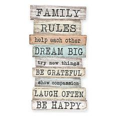 """Panneaux d'orientation décoratifs """"Family Rules""""  orange  42 x 50 x 1 cm"""
