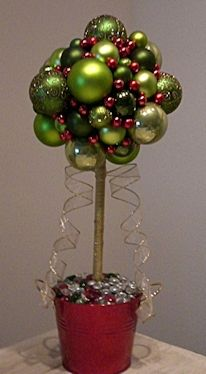 get ready to make your own unique christmas table decoration a topiary christmas balls tree - Topiary Christmas Decorations