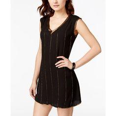 Xoxo Juniors' Embellished V-Neck Shift Dress ($48) ❤ liked on Polyvore featuring dresses, black, cocktail party dress, black shift dress, v neck cocktail dress, black beaded cocktail dress and evening dresses