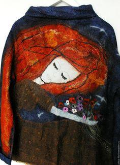 """Купить Джемпер """"Ночные сны"""" - комбинированный, рисунок, модный войлок, шикарный войлок, джемпер с ночью"""