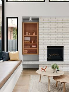 Pretty white brick fireplace with unusual built in cubby // Australian Interior Design Awards - Rose House by Watts Studio Bungalow Renovation, Family Room Design, Fireplace Design, Rose House, Family Room, Interior Design Awards, Living Room Modern, Home Decor, Room Design