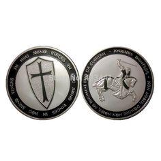 New KNIGHTS TEMPLAR Black CROSS EDITION . SILVER COLORIZED COIN - LIMITED